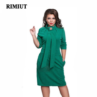 2018 5XL 6XL Big Size Fat MM Fashion Solid Stand Knee Length Autumn Dresses for Women Party Pencil Formal dress