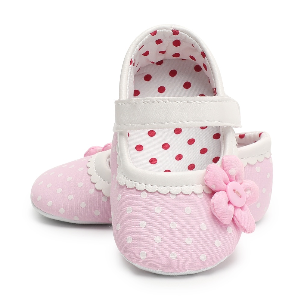 Pink First Walkers Newborn Shoes Cotton Flower Baby Girl Shoes Polka Dot Toddler Crib Shoes Non-slip Moccasins 0-18 Months