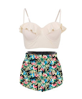 FITWEAR High Waisted Swimsuits For Women Floral Underwire Ruffle Bikinis Women Large Plus Size Bathing Suits
