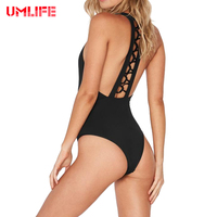 UMLIFE Swimsuit Women Bandage Bikini Solid Color Swimwear Women Sexy Halter Bikini Swimsuit Women Bikini Beach