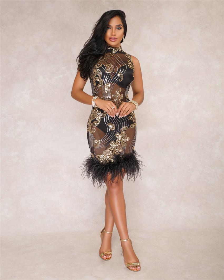Tsuretobe New Fashion Sexy Sequin Feather Dress Women Evening Party Club  Dresses See Through Bodycon Mesh Dress Robe Femme 842dad33bfae