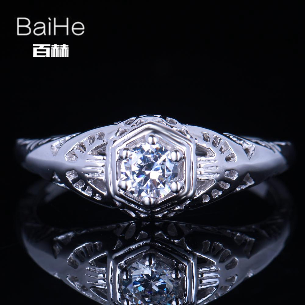 BAIHE Solid 14K White Gold(AU585) 0.23CT Certified Genuine AAA Graded Cubic Zirconia/Flawless  Women Vintage Fine Jewelry RingBAIHE Solid 14K White Gold(AU585) 0.23CT Certified Genuine AAA Graded Cubic Zirconia/Flawless  Women Vintage Fine Jewelry Ring