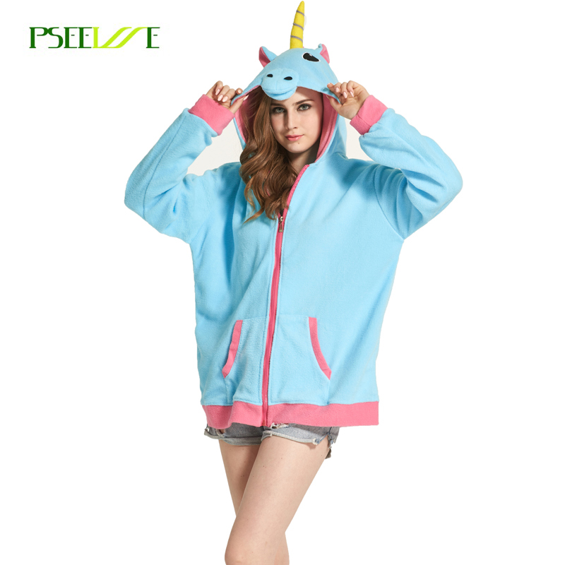 Mode Hoodies Cartoon Unicorn Sweatshirts Fleece Kvinnor harajuku Vinterjacka Jackor BTS Kläder Vinterjacka Moletom feminino