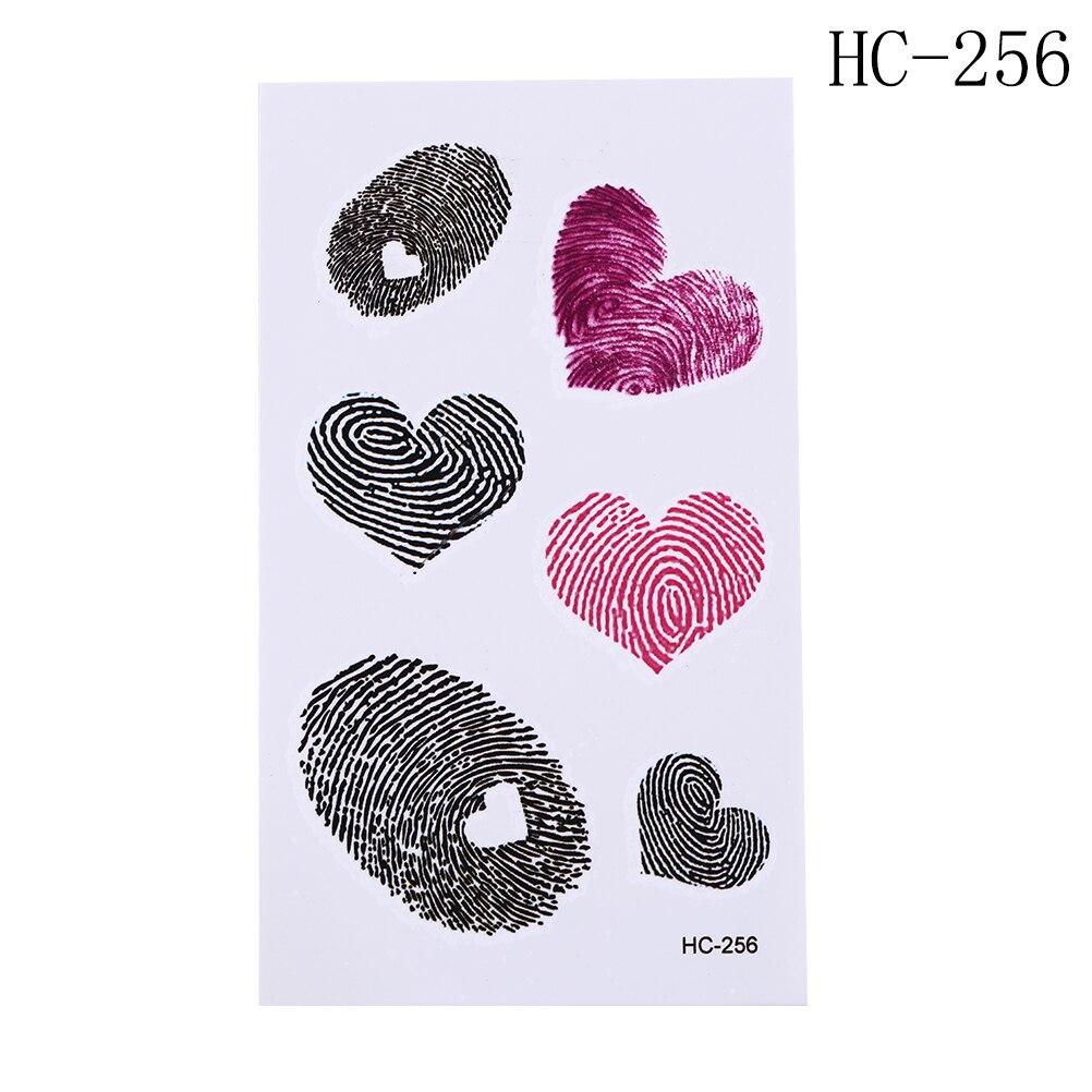 Us 075 16 Offmake Up Gereedschap Waterdichte Tijdelijke Fake Tattoo Stickers Roze Zwart Vingerafdruk Liefde Hart Ontwerp Body Art Hand Arm Been