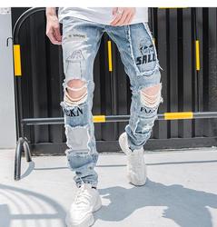 Светоотражающие Для мужчин узкие Рваные джинсы 2019 Винтаж велосипедист бегун Проблемные отверстий мешковатые Denim Slim Fit Повседневное брюки