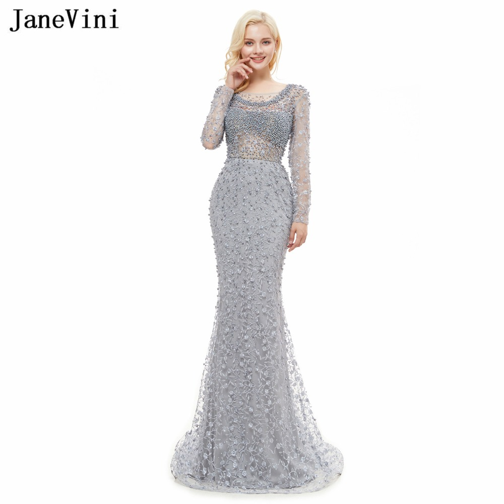 JaneVini Luxury Beaded Dubai Gray   Bridesmaid     Dresses   Long Sleeves Scoop Neck Sweep Train Elegant Pageant Mermaid Lace Prom Gowns