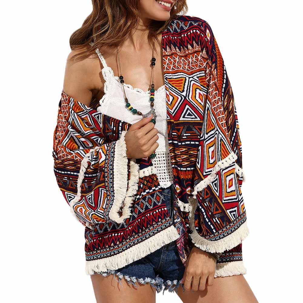 Boho Kimono Cardigan Summer Women Enthic Style Print Tassel Splice Fashion Bohemian Beach Holiday Shirt shawl