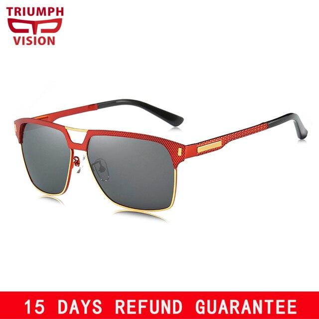 4721236cc3 TRIUMPH VISION HD Polarized UV400 Protection Sun Glasses for Men Red Frame  Driving Sunglasses Men Square Fashion Shades Oculos. BEST SAVINGS.