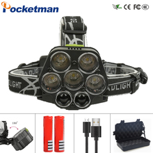 40000LM Powerful Led Head Lamp 5*XML-T6+2*XPE Headlight For hunting Fishing Headlamp rechargeable flashlight with 18650 battery powerful xml t6 headlight 5000 lm rechargeable led headlamp t6 flashlight head torch lamp wall ac adapter charger 18650 battery
