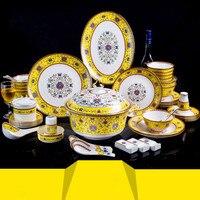 Набор посуды дома Творческий Керамика Эмаль едят фарфоровая бульонная чашка столовые приборы подарочной коробке Керамика Bone набор посуды