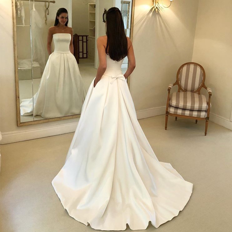 Image 2 - Simple Boho A line Wedding Dresses Strapless Satin Draped Bridal Dress Bow Sashes Vestidos De Noiva Bride Dresses Cheapest-in Wedding Dresses from Weddings & Events