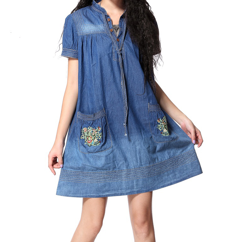 Buy Cheap 2017 New Vintage Ethnic Tropical Floral Embroidery Dresses Stand Collar Loose Denim Summer Style Casual Women's Elegant Dress