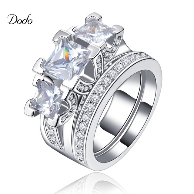 White Gold Plated Jewelry Vintage Wedding Ring Set For Women His Or Hers Promise Luxury Cz