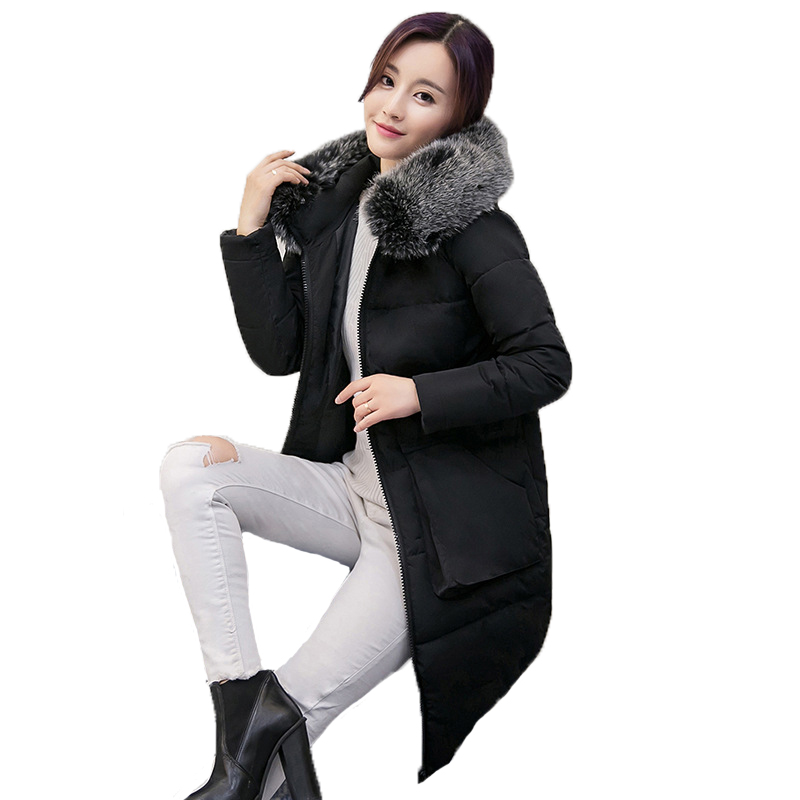 Down Parkas Winter Jacket Women Cotton Padded Thick Ultra Light Long Coat Faux Fur Collar Hooded Female Jackets For Woman A89 ohryiyie women s thick warm long winter jacket women parkas faux fur collar hooded coat cotton padded winter coat manteau femme