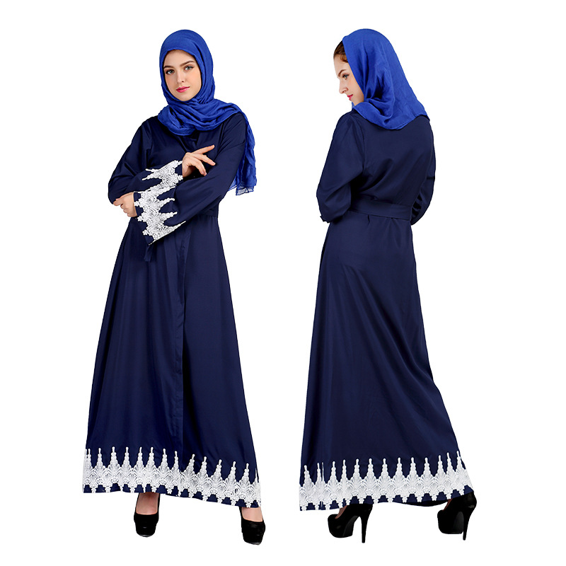 Middle East Clothes Turkey Speaker Sleeve Abaya Muslim Women Cardigan Lace Dress Turkish Robe Islamic Abayas Dresses Clothing