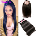 360 Lace Frontal With Bundles 4Bundles With Frontal Closure Brazilian Straight Virgin Hair With Closure 360 Frontal With Bundles