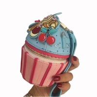 Sweet girl Ice Cream Coin Purse Women cake shoulder bag PU Leather clutch bag mini Money Pouch Woman chain shoulder bag 2018 NEW