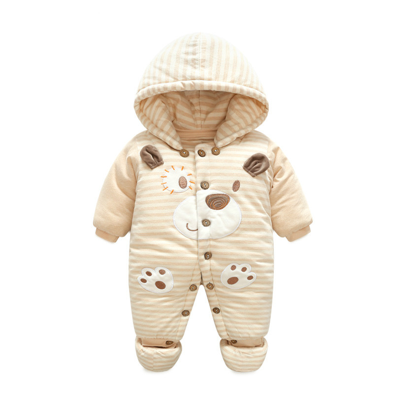 Organic Cotton Baby Winter Rompers Hooded Romper Child Boys Girls Warm Clothes Sling Kids Jumpsuit Baby clothes set With Hat
