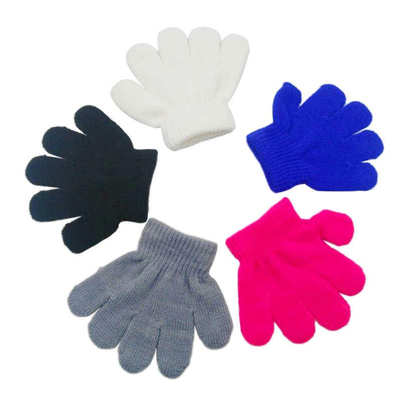 חורף חם תינוק כפפות לילדים סרוג למתוח כפפות ילדים מוצק בנות כפפות אצבע מלאה כפפת סרוג אקראי בני כפפות
