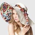 Flor de Diseño de moda Plegable de Ala Ancha Sombrero para el Sol Playa Sombreros de Verano para Las Mujeres Al Aire Libre Sombrero de Protección UV