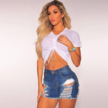 2019 new spring popular global fashion personality hole grinding old straight tassel high waist casual sexy denim shorts