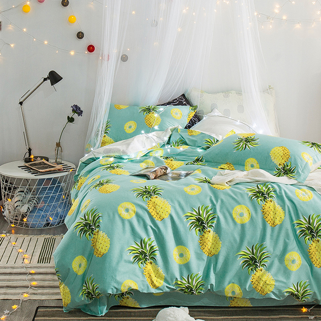 Pineapple Bedding Set Printed Fruit Cool Feel Bedsheet Soft 100% Cotton  Duvet Cover Set 4pcs