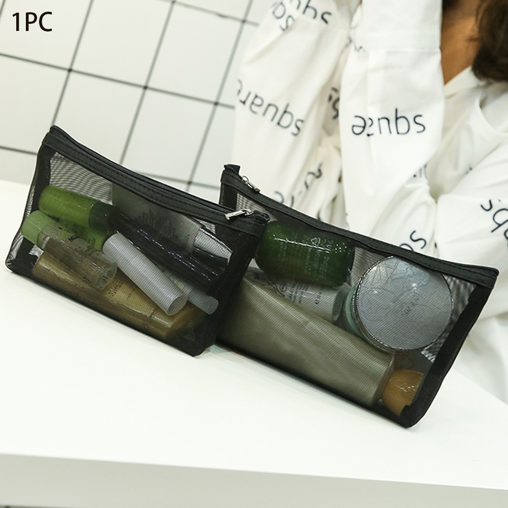 Women Transparent Cosmetic Bag Mesh Organizer Multifunctional Portable Pouch Toiletry Wash Makeup Bag Zipper Travel Storage
