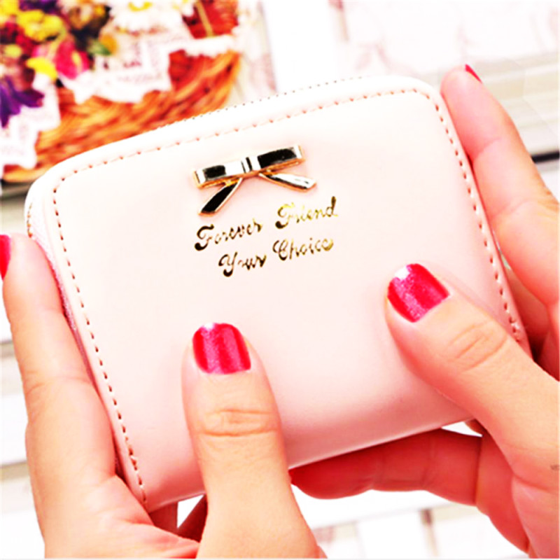 Bowknot Leather Small Women Wallet Luxury Brand Famous Mini Womens Wallets And Purses Short Female Coin Purse Credit Card Holde aelicy long clutch women wallet female simple retro owl printing womens wallets and purses luxury brand famous card holders