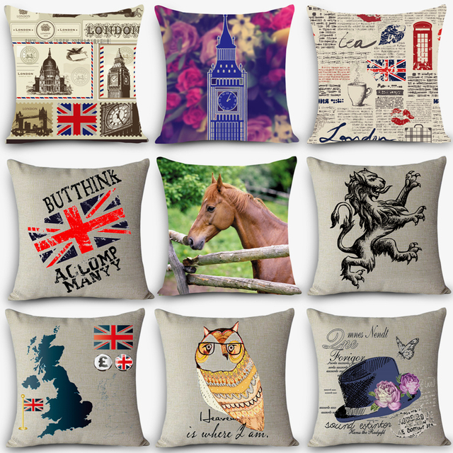 Cheap Car Seat Linen Decorative Throw Pillow Nordic UK London Vintage Chair  Cushions Home Decor Pillow