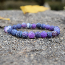Fashion Purple Weathered Agates Beaded Bracelet Semi-precious Stones Crystal Strand Bracelets for Women Charm Handwoven Jewelry