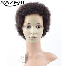 Razeal 2 дюймов синтетические Короткие Искусственные парики для черный Для женщин афроамериканцев странный фигурные афро Искусственные парики натуральный черный высокой Температура Волокно