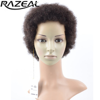 Razeal 2 Inch Synthetic Short Wigs African American Kinky Curly Afro Wigs Natural Black High Temperature Fiber