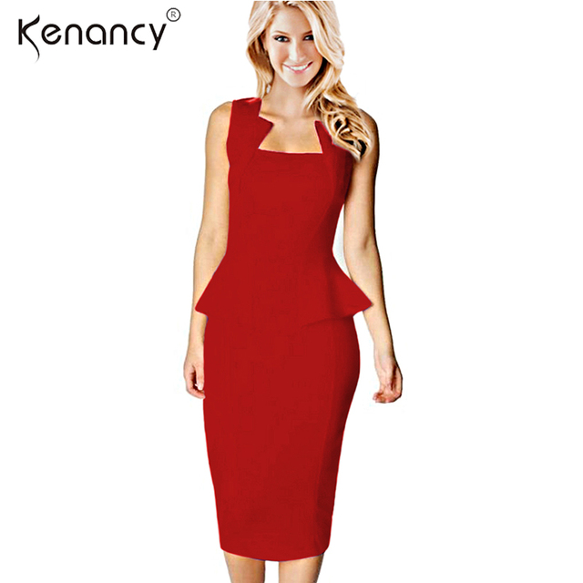 40176bf27ff6 Kenancy Clearance Sale Fashion Style Women Summer Dress Sleeveless Solid  Color Knee-Length Office Bodycon Dresses
