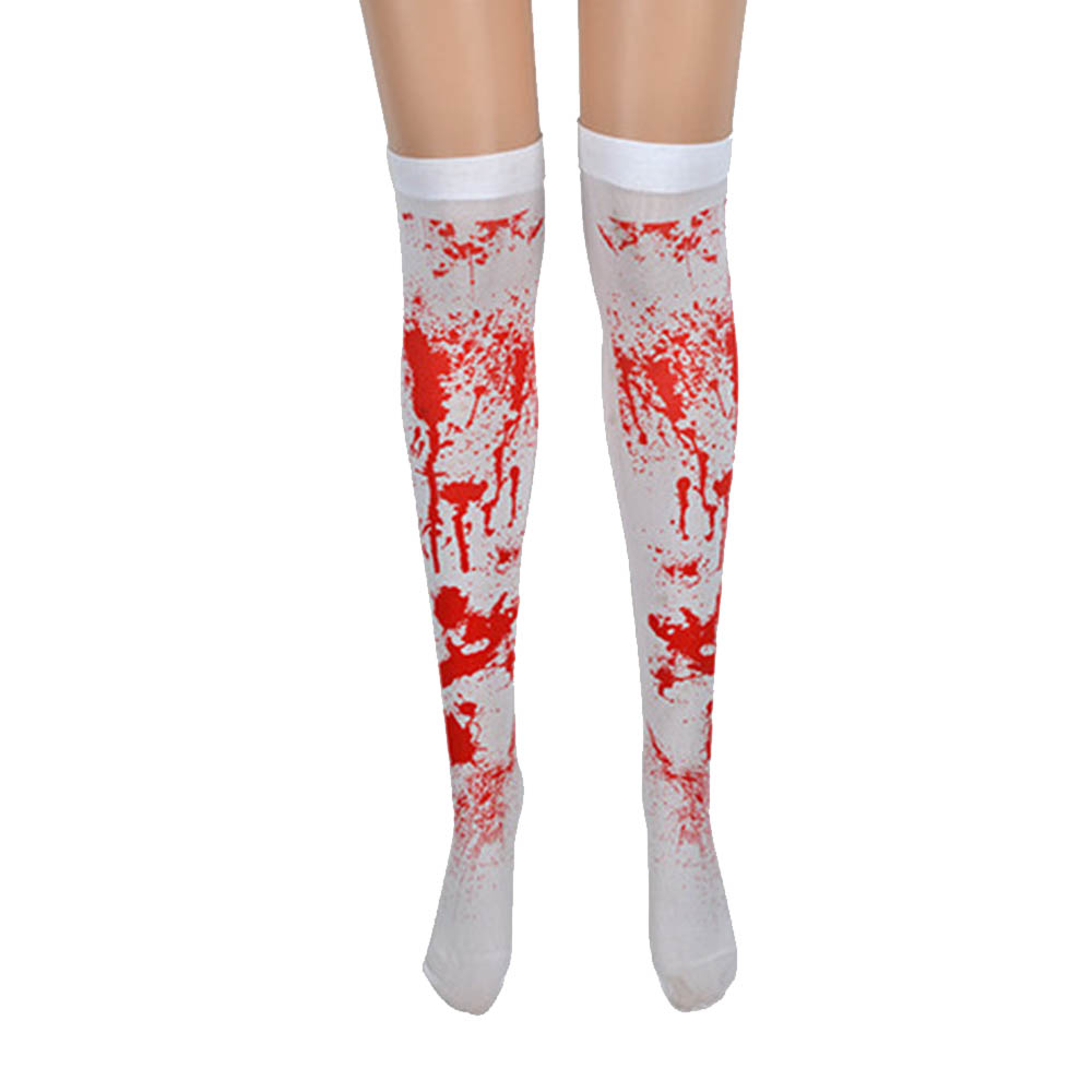 2018 Fashion Women Dress Socks Stockings Halloween Gothic Scary Nurse Zombie Costume