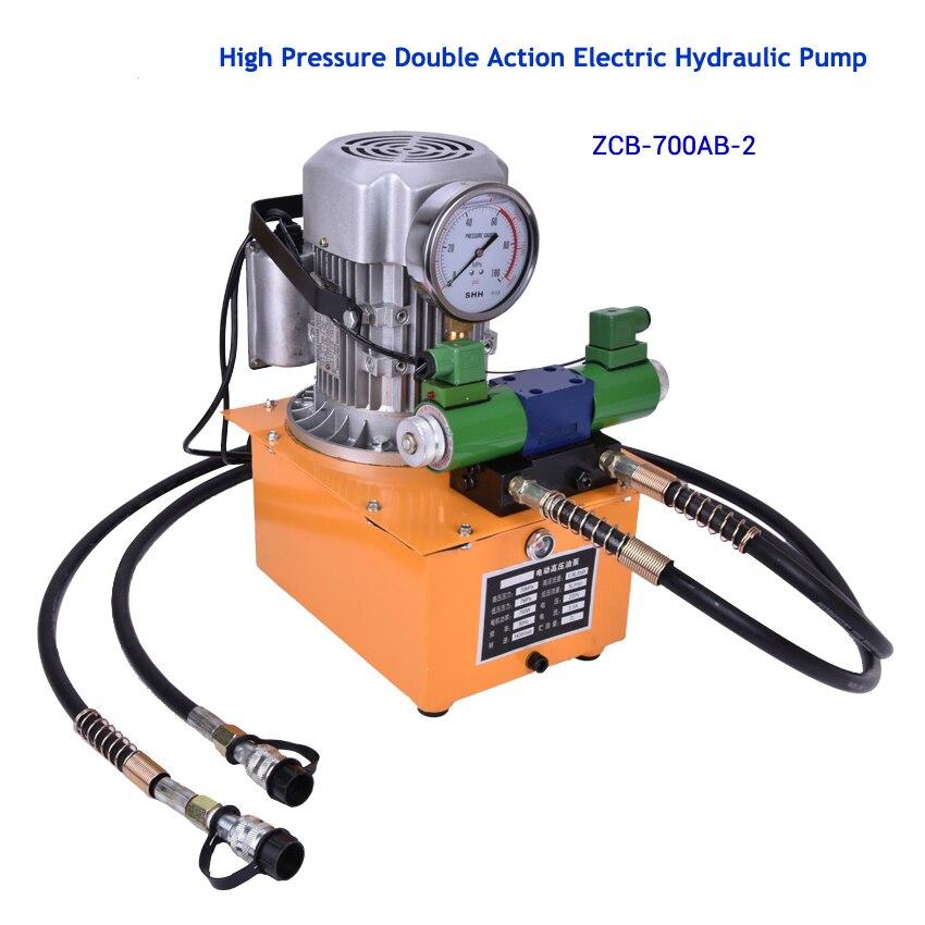 Haute Pression Double Action Électrique Pompe Hydraulique avec électronique magnétique valve Avec pédale 1400 (r/min) 0.9 (L/min) ZCB-700AB-2