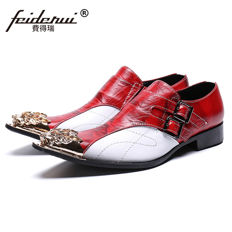 New Arrival Pointed Toe Man Formal Dress Footwear Genuine Leather Metal Tipped Monk Straps Men s