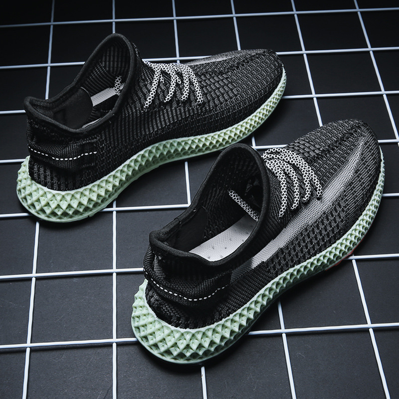 INS hip hop ฤดูใบไม้ผลิฤดูร้อนแฟชั่น Fly Weave รองเท้าผ้าใบ Lighted Breathable Men Casual รองเท้า Tenis Masculino รองเท้าผ้าใบ