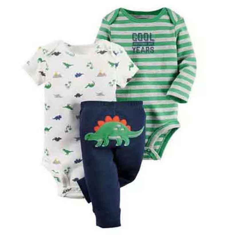 Conjunto de ropa para bebé unisex, ropa de algodón 100% recién nacido, traje de manga larga + dinosaurio de dibujos animados pantalón, 6-24 m ropa de niña de niño infantil