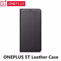 Original Oneplus 5T Leather Flip Case Black Business Back Cover Bag Cases For One Plus 5T