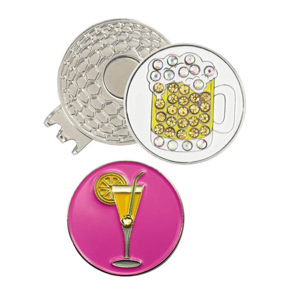 PINMEI Golf Ball Mark Magnetic Hat Clip Sets 1pc Cap Clip & 1pc Beer Cup Ball Mark & Pcs Lemon Drink Golf Marker Sets For Golfer