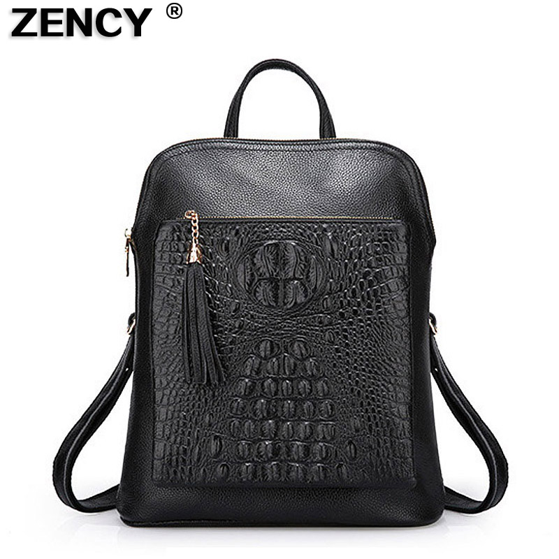 ZENCY Backpack 100% Genuine Leather Women's Backpacks Alligator Pattern Ladies Girl Crocodile Cowhide School Bag Mochilas Mujer zency genuine leather backpacks female girls women backpack top layer cowhide school bag gray black pink purple black color