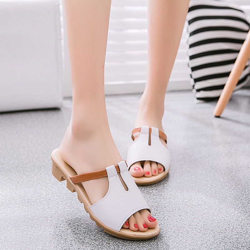 Fashion wedges Women slippers Slip-on Outside Casual leather Beach Summer sandals shoes ladies comfortable female footwear ST23 women sandals 2017 summer shoes woman wedges fashion gladiator platform female slides ladies casual shoes flat comfortable