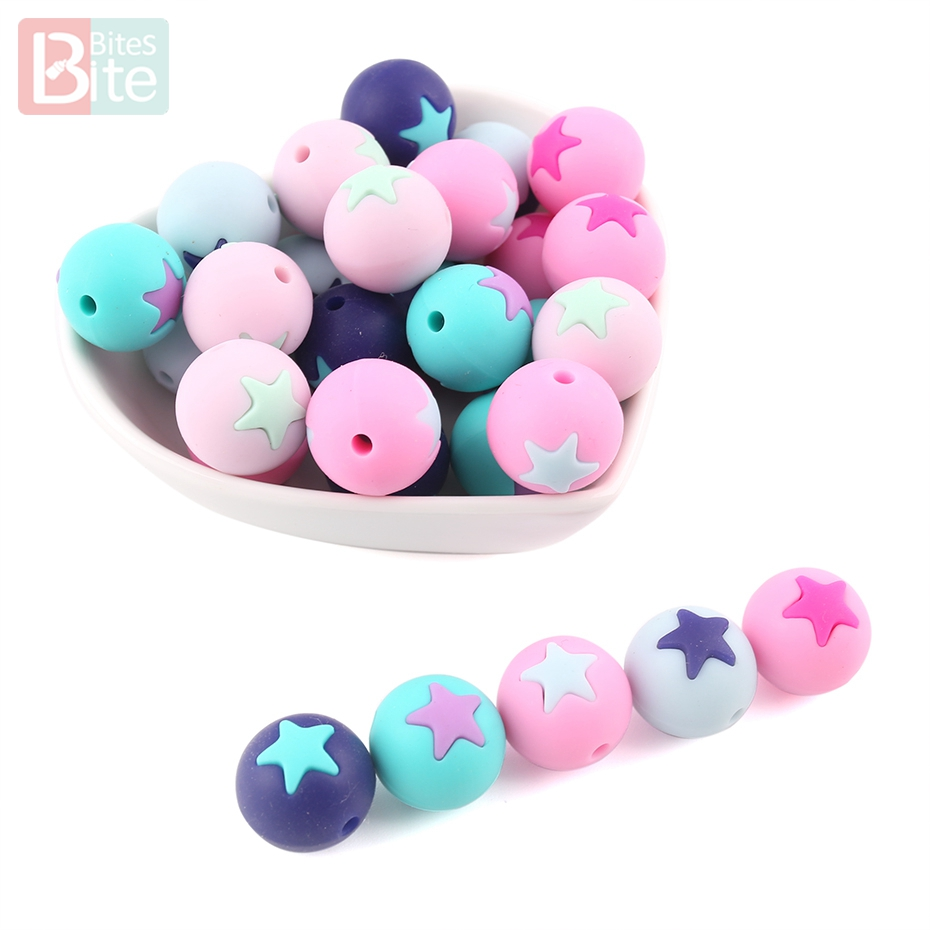 Bite Bites 10PCS 15MM Silicone Teething Round Silicone Beads With Star DIY Dummy Chain Infant Toy BPA Free Baby Teether