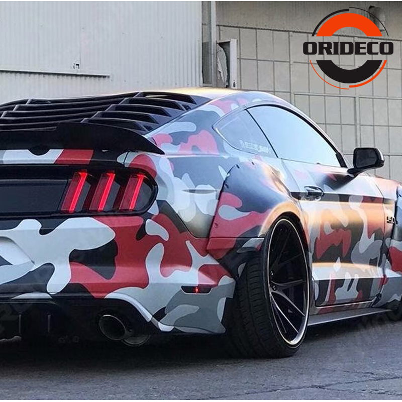 5/10/15/20/25/30m*1.52m Camouflage Car Sticker Red&Black&White&Gray Camo Vinyl For Auto Vehicle Body Wraps With Bubble Free
