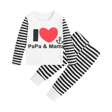 Baby Kids Sets Children Striped  Long-sleeved  T-shirt +Pants 2PC Sets Autumn Kids Casual  Clothes Outfits For Boys And Girls стоимость