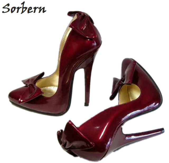 50061856229b Sorbern 32-52 Cute Toe Wine Red Pumps Women 10Cm 12Cm 14Cm Shoes Slip On