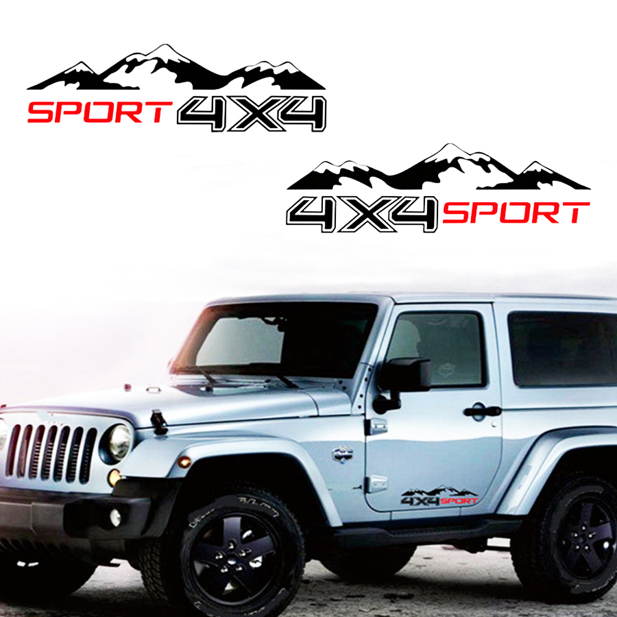 2x Mountain <font><b>Off</b></font> <font><b>Road</b></font> Camper Van Motorhome Door Body Vehicle Decal <font><b>4X4</b></font> Mountain Decals <font><b>Sticker</b></font> For Jeep Wrangler image