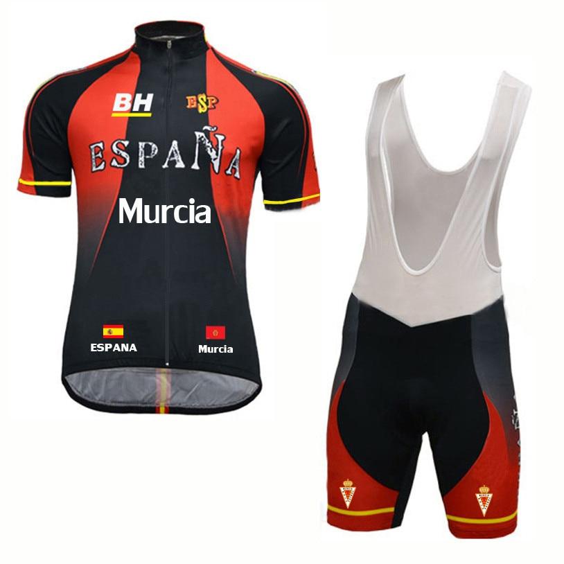 где купить Ropa ciclismo hombre Espana team 2018 men's short sleeve Cycling jersey kit summer Spainish bicycle bike clothing bib short set по лучшей цене