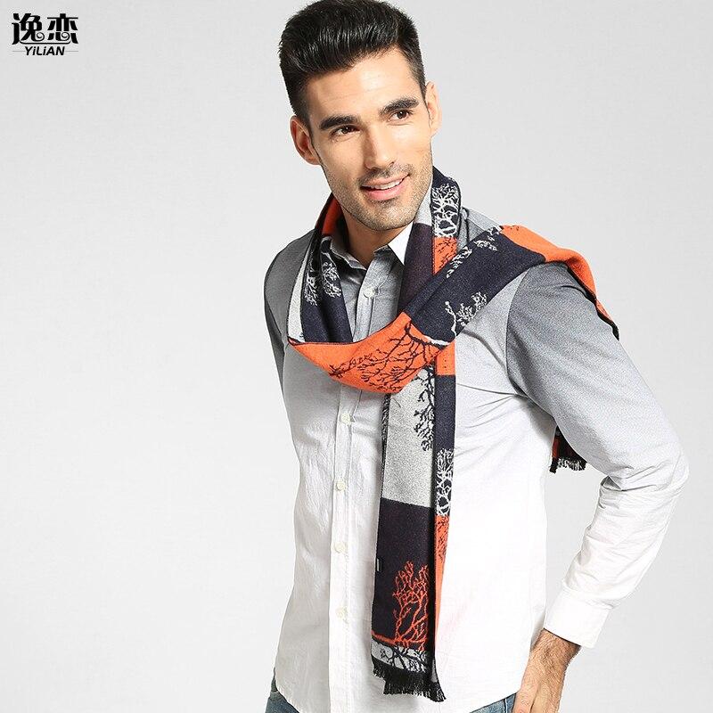 YILIAN Brand New 3 rəngli moda pambıq eşarp Qış boyu kişilər - Geyim aksesuarları - Fotoqrafiya 1