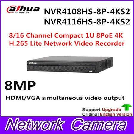 цена Original NVR4108/4116HS-8P-4KS2 4K H.265 NVR 8 POE NVR4108HS-8P-4KS2 NVR4116HS-8P-4KS2 8/16CH Compact 1U Network Video Recorder